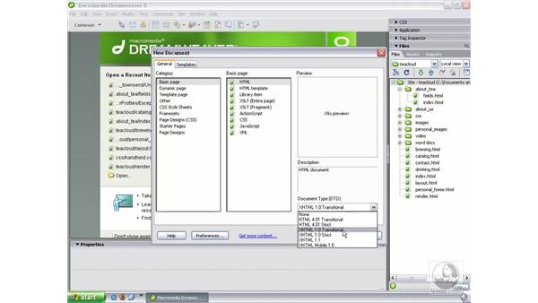 Document type choices: Dreamweaver 8 New Features