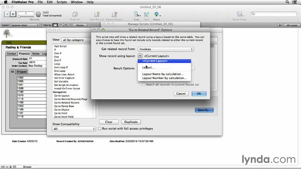 Using the Go to Related Record script step: FileMaker Pro 13 Essential Training