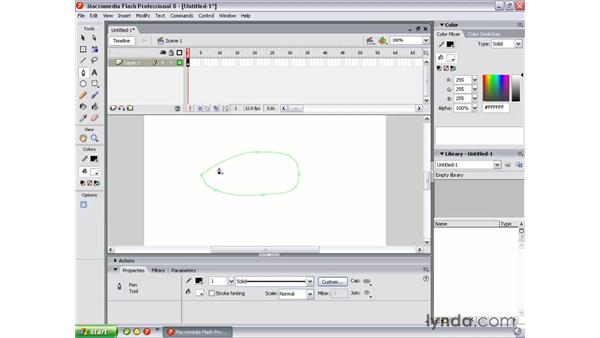 Drawing with the Pen tool: Flash Professional 8 Essential Training