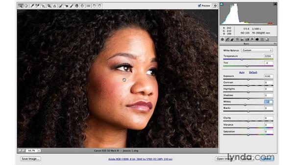 Fixing the foundation in Camera Raw: Portrait Project: Retouching a Studio Portrait