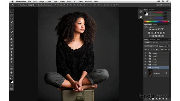 Organizing the layered file: Portrait Project: Retouching a Studio Portrait