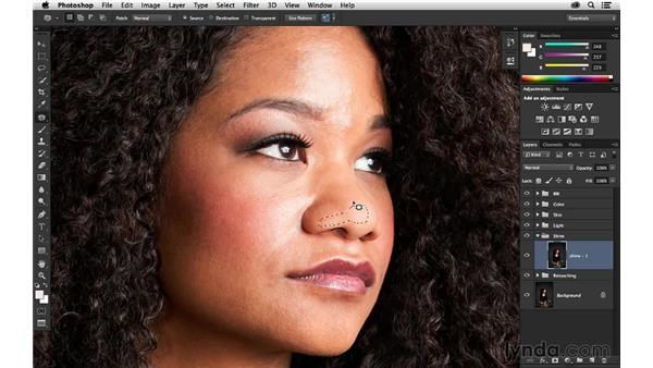 Reducing shine with Patch tool: Portrait Project: Retouching a Studio Portrait