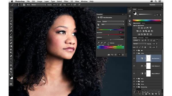 Making specific color adjustments: Portrait Project: Retouching a Studio Portrait