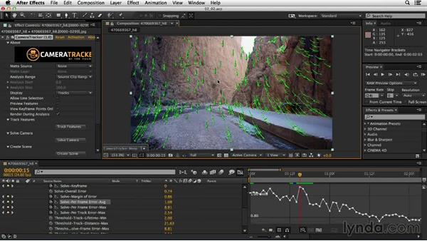 Using the track finder to identify tracking errors: Up and Running with the Foundry CameraTracker for After Effects