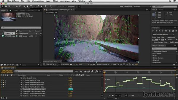 Using thresholds to remove points and improve the solve: Up and Running with the Foundry CameraTracker for After Effects