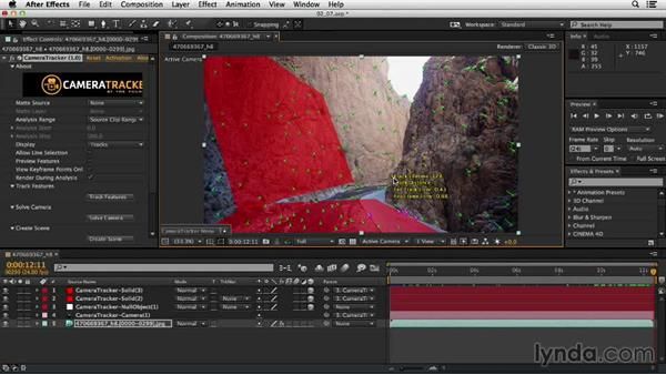 Creating a floor and walls using solids: Up and Running with the Foundry CameraTracker for After Effects