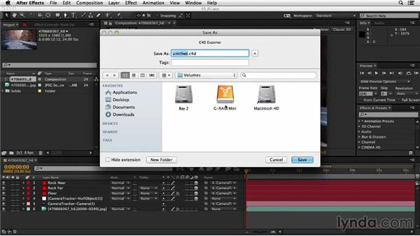 Exporting a composition to CINEMA 4D: Up and Running with the Foundry CameraTracker for After Effects