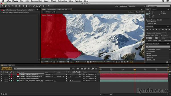 Creating a solid to use as a matte: Up and Running with the Foundry CameraTracker for After Effects