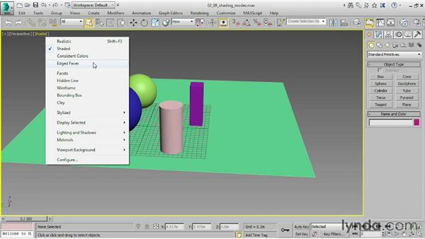 Choosing shading modes: 3ds Max 2015 Essential Training