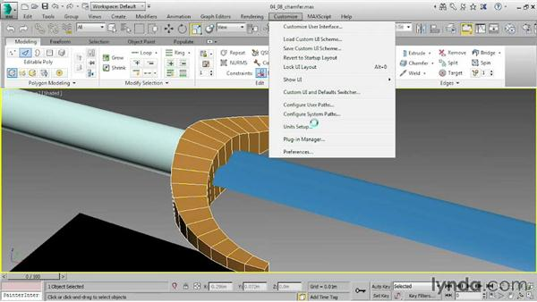 Faceting corners with Chamfer: 3ds Max 2015 Essential Training