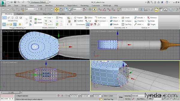 Combining objects with Attach: 3ds Max 2015 Essential Training