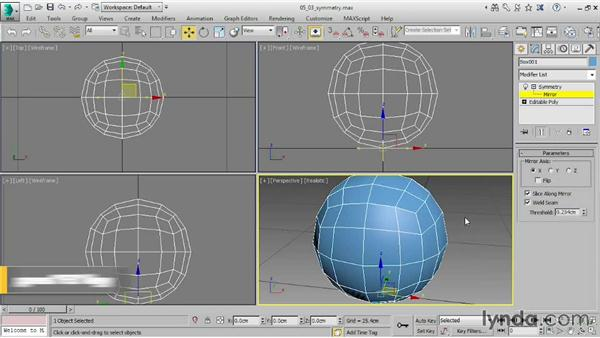 Adding the Symmetry modifier: 3ds Max 2015 Essential Training