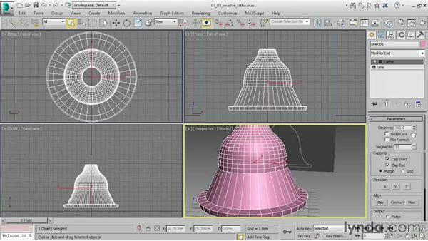Revolving a surface with a Lathe modifier: 3ds Max 2015 Essential Training