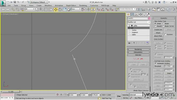 Combining splines with Attach and Merge: 3ds Max 2015 Essential Training