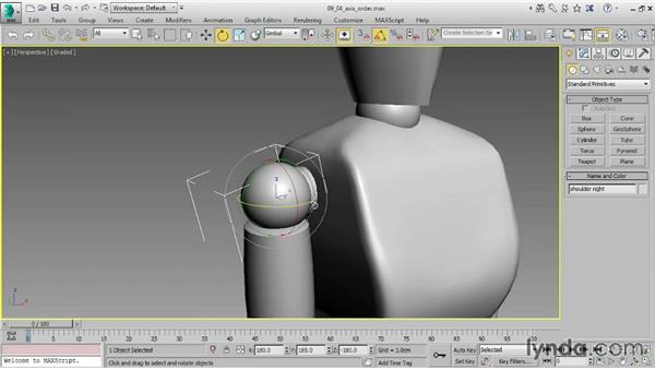 Setting Axis Order for rotation: 3ds Max 2015 Essential Training