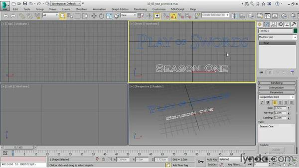 Creating a Text primitive: 3ds Max 2015 Essential Training