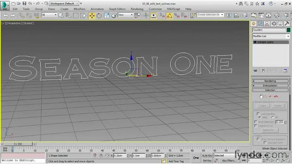 Editing text splines: 3ds Max 2015 Essential Training