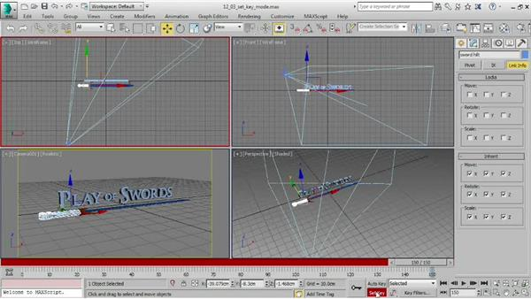 Creating keyframes in Set Key mode: 3ds Max 2015 Essential Training