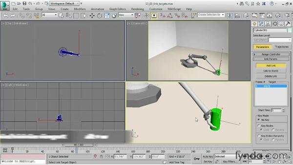 Adding link targets in the Motion panel: 3ds Max 2015 Essential Training