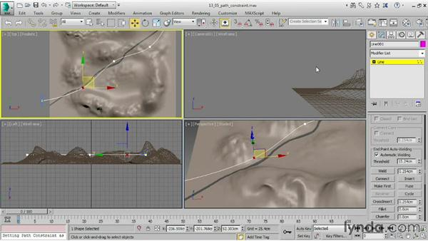 Constraining animation to a path: 3ds Max 2015 Essential Training