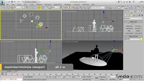 Creating a target spotlight: 3ds Max 2015 Essential Training