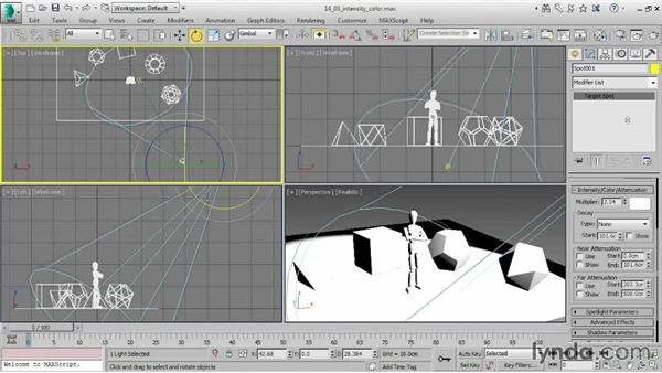 Adjusting intensity and color: 3ds Max 2015 Essential Training