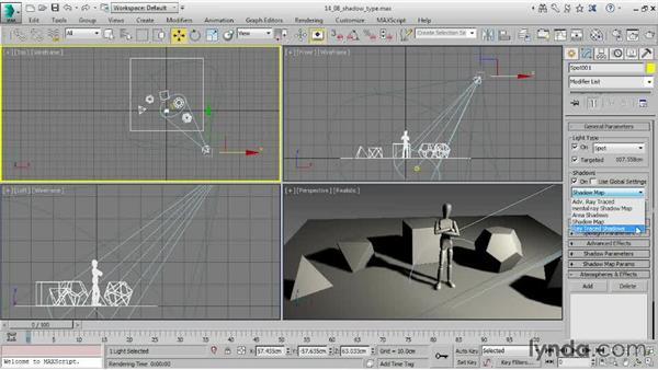Choosing a shadow type: 3ds Max 2015 Essential Training