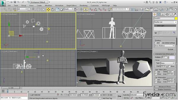 Creating Omni fill lights: 3ds Max 2015 Essential Training
