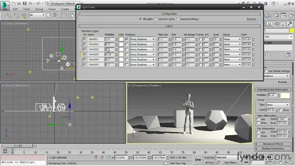 Using the Light Lister: 3ds Max 2015 Essential Training