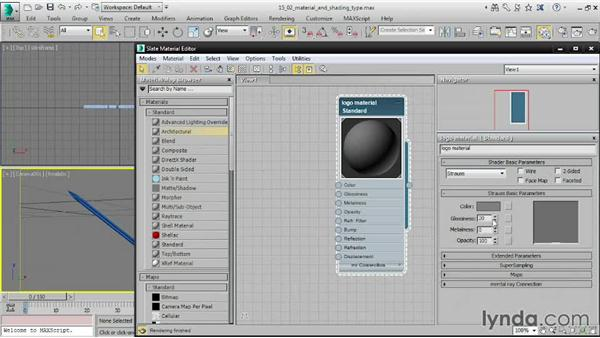 Choosing material and shading types: 3ds Max 2015 Essential Training
