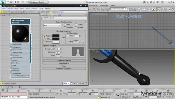 Adjusting specular parameters: 3ds Max 2015 Essential Training