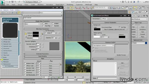 Adding reflections with a Raytrace map: 3ds Max 2015 Essential Training