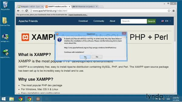 Installing XAMPP on Windows: MySQL Essential Training