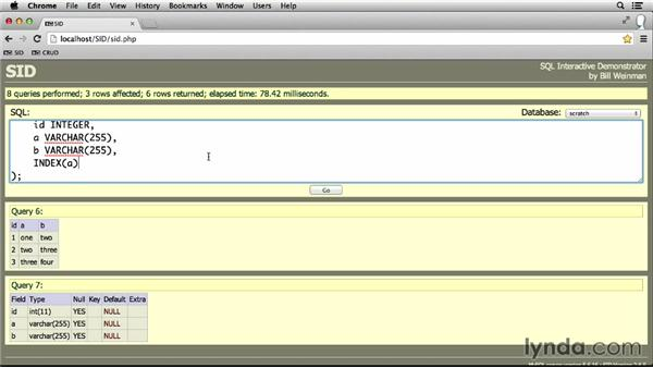 Creating indexes: MySQL Essential Training