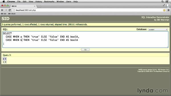 Flow control with CASE: MySQL Essential Training