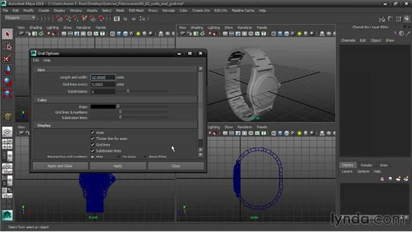 Setting units and grid options: Creating Product Shots in Maya