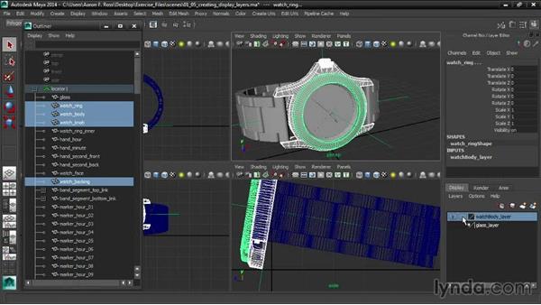 Creating display layers: Creating Product Shots in Maya