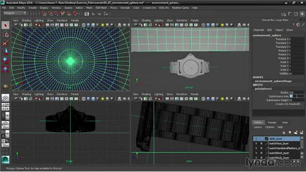 Modeling an environment sphere: Creating Product Shots in Maya