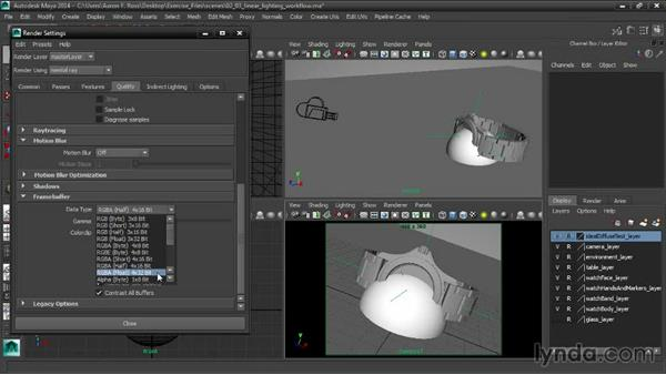 Setting up a linear lighting workflow: Creating Product Shots in Maya