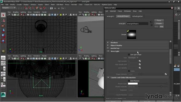 Creating area lights: Creating Product Shots in Maya