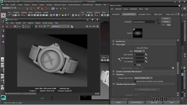 Adjusting area-light samples: Creating Product Shots in Maya