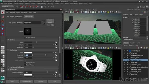 Creating a reflective tabletop material: Creating Product Shots in Maya