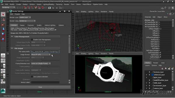 Setting up render passes: Creating Product Shots in Maya
