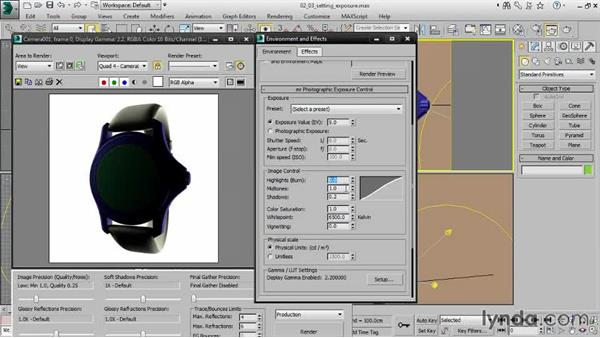 Setting exposure for studio lighting: Creating Product Shots in 3ds Max