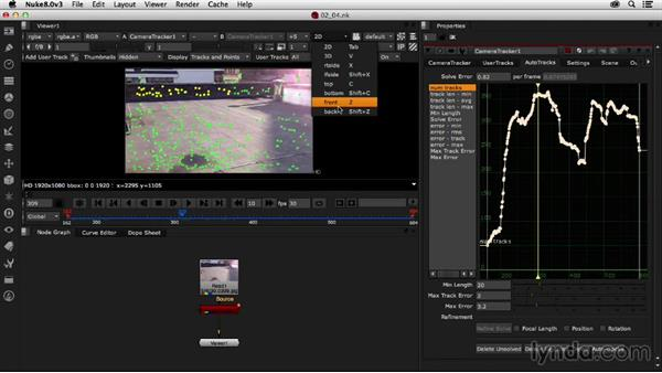 Setting a ground plane in the camera-tracked scene: Creating a Show Open in Nuke X and CINEMA 4D