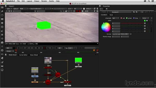 Testing the solve using temporary 3D geometry: Creating a Show Open in Nuke X and CINEMA 4D