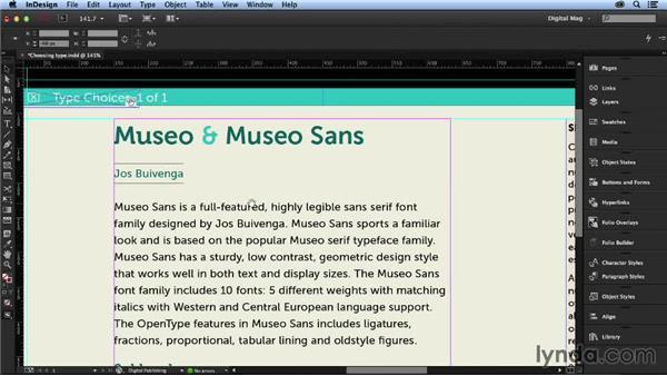 Choosing typefaces: Designing a Digital Magazine
