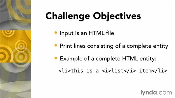Challenge: Print only those lines consisting of a complete HTML entity: AWK Essential Training