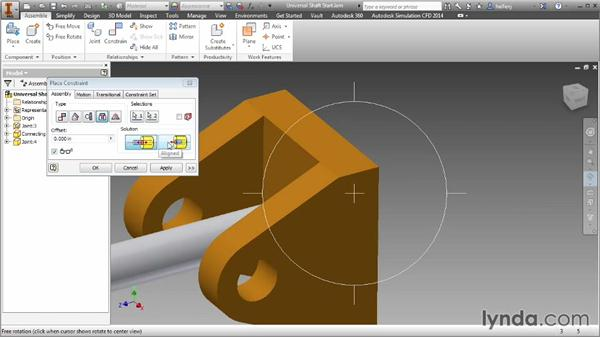 The Insert constraint: Inventor 2014 Essential Training