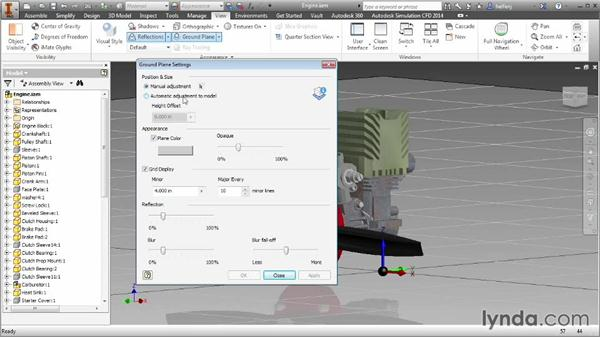 Adding a ground plane, reflections, and perspective to a design: Inventor 2014 Essential Training